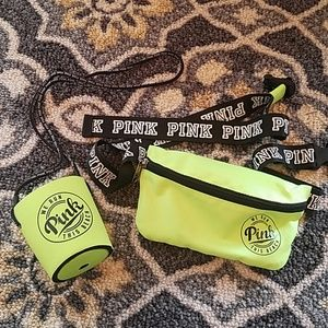 {PINK} Lime Green Fanny Pack + Koozie